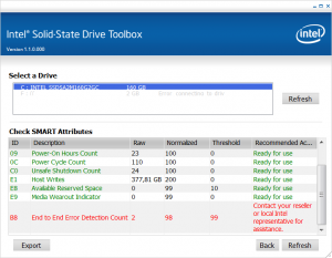 Intel X25-M G2 Postville 160 GB Smart Errors